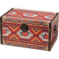 Caixa Baú Tribal- Vermelha & Marrom Escuro- 24X36X20Mabruk