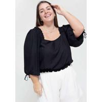 Blusa Cropped Almaria Plus Size Tal Qual Decote Qu