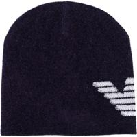 Emporio Armani Kids Logo Pattern Knitted Hat - Azul