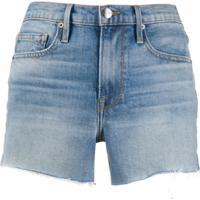 Frame Bermuda Jeans Com Barra Desfiada - Azul