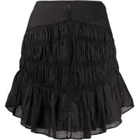 Isabel Marant Tiered-Gathereing A-Line Mini Skirt - Preto