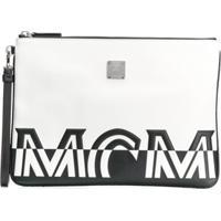 Mcm Logo Print Clutch - Branco