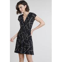 5bb4787ef0 CEA  Vestido Feminino Curto Transpassado Estampado De Corrente Manga Curta  Preto