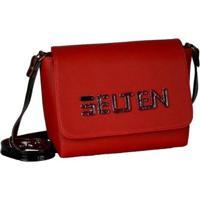 Bolsa Selten Box Transversal Ajustável Zíper Feminina - Feminino-Vermelho