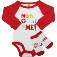 Body Puket Bebê Manga Longa + Meia Mom+Dad Puket - Unissex-Branco