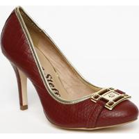 Sapato Tradicional Em Couro Croco- Bordã´- Salto: 9,5Carmen Steffens