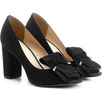 Peep Toe Couro Shoestock Franjas - Feminino