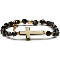 Pulseira Key Design Mariah Gold Black Feminina - Feminino-Preto