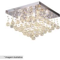Plafon Quadrado Com Pingentes- Cristal & ÂMbar- 28X4Hevvy