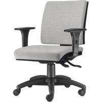 Cadeira Simple Com Braco Em Courino Assento Courino Cinza Claro Base Nylon Arcada - 54926 - Sun House