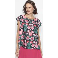 Blusa Com Recortes- Preta & Rosa- Cotton Colors Extrcotton Colors Extra