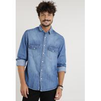 Posthaus  Camisa Jeans Masculina Com Bolsos Manga Longa Azul Médio 59eb6bfd9c4