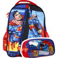 Kit Escolar Mochila E Estojo Superman