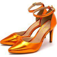 Sapato Feminino Scarpin Salto Alto Fino Em Laranja Metalizado Lançamento