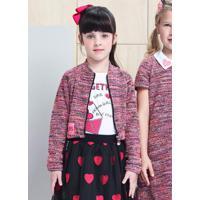 Casaco Tweed Multicolor Rosa