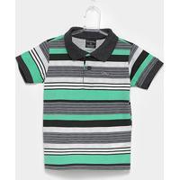 Camisa Polo Infantil Quimby Estampa Listrada Feminina - Masculino