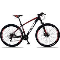 Bicicleta Xlt Aro 29 Freio A Disco Suspensão 21 Marchas Quadro 19 Alumínio Preto Vermelho - Ksw