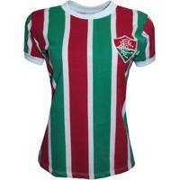 Camisa Liga Retrô Fluminense 80´S Feminino - Masculino-Verde+Vermelho
