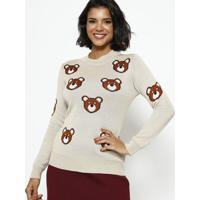 Blusa Em Tricot Ursos - Bege & Marromponto Aguiar