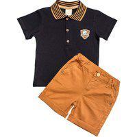 Conjunto Infantil Camisa Polo Marinho E Bermuda Azul Marinho