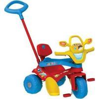 Triciclo Infantil Tonkinha Com Empurrador - Unissex-Vermelho+Azul
