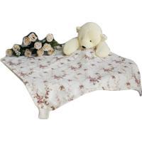 Naninha C/ Porta Chupeta Laura Baby - Ursinha Floral Ferrugem
