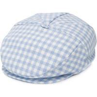 Colorichiari Plaid Baker Boy Hat - Azul