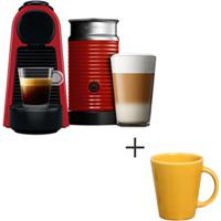 Cafeteira Nespresso Essenza Vermelho - A3Nrd30B - 220V + Canecas Basic Ceramica Com 04 Pecas Amarelo - Porto Brasil