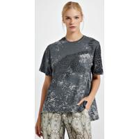 T-Shirt De Malha Com Silk Localizado Mescla