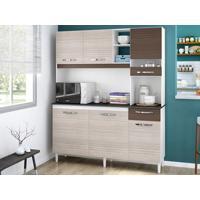 Cozinha Com 6 Portas Bárbara Amêndoa/Capuccino – Lc Móveis