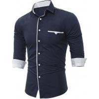 Camisa Social Slim Forro Branco - Azul Navy