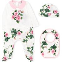 Dolce & Gabbana Kids Pijama 3 Peças Com Estampa De Rosa - Branco