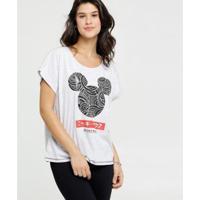 Blusa Brilho Estampa Mickey Disney Feminina - Feminino-Cinza