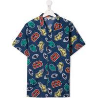 Kenzo Kids Camisa Mangas Curtas - Azul