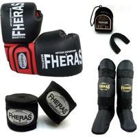 Kit Fheras Infantil Luva De Boxe / Muay Thai Orion 08 Oz + Bandagem + Bucal + Caneleira - Unissex