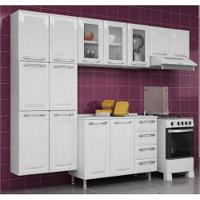 Cozinha Itatiaia Criativa Compacta 4 Pecas Branco Paneleiro Armario Aereo 3 Vidros Gabinete