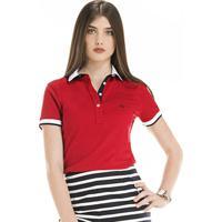 Camisa Polo Principessa Maria Joaquina - Feminino-Vermelho