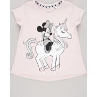 Blusa Infantil Minnie E Unicórnio Com Glitter Manga Curta Rosa Claro