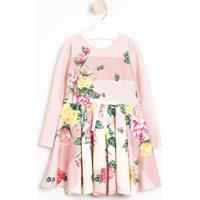 Vestido Texturizado Floral Com Laço- Rosa Claro & Verdeluluzinha