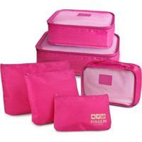 Kit Jacki Design Organizador De Malas De 6 Peças Viagem - Unissex-Pink