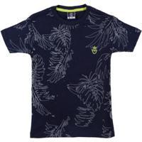 Camiseta Manga Curta Infantil Para Menino - Azul Marinho