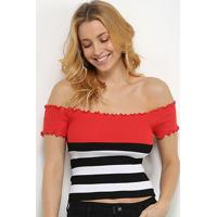 Blusa Allexia Canelada Multi Color Ombro A Ombro Feminina - Feminino-Preto+Vermelho