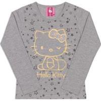 Blusa Infantil Estampada Hello Kitty Feminina - Feminino-Cinza