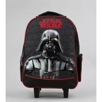 Mochila Escolar Infantil Com Rodinhas Star Wars Preta - Único