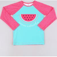 Blusa De Praia Infantil Raglan Estampado Melancia Manga Longa Rosa Escuro