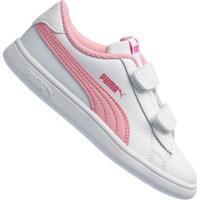 Tênis Puma Smash V2 L V Td - Infantil - Branco/Rosa