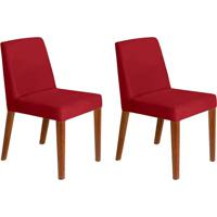 Conjunto Com 2 Cadeiras Infinity Veludo Vermelho