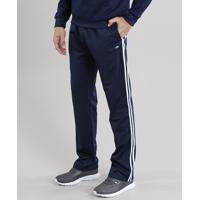 Calça Masculina Esportiva Ace Em Moletom Com Listras Laterais Azul Marinho
