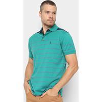 Camisa Polo Aleatory Fio Tinto Listrada Masculina - Masculino-Verde+Roxo