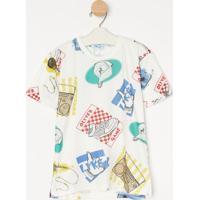 "Camiseta ""Tãªnis""- Off White & Azul- Oliveroliver"
